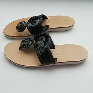 Jack Rogers Black Patent Sandals Flip Flops Slides